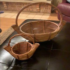 Vintage Wicker Boho baskets Set of 2 Rattan
